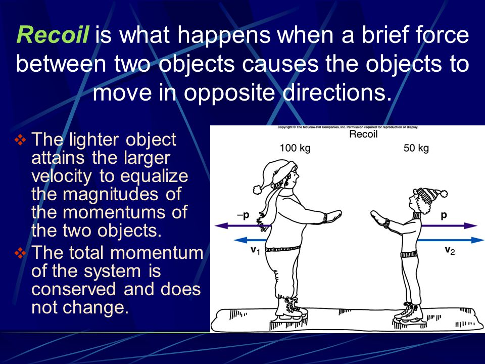  The lighter object attains the larger velocity to equalize the magnitudes of the momentums of the two objects.  The total momentum of the system is