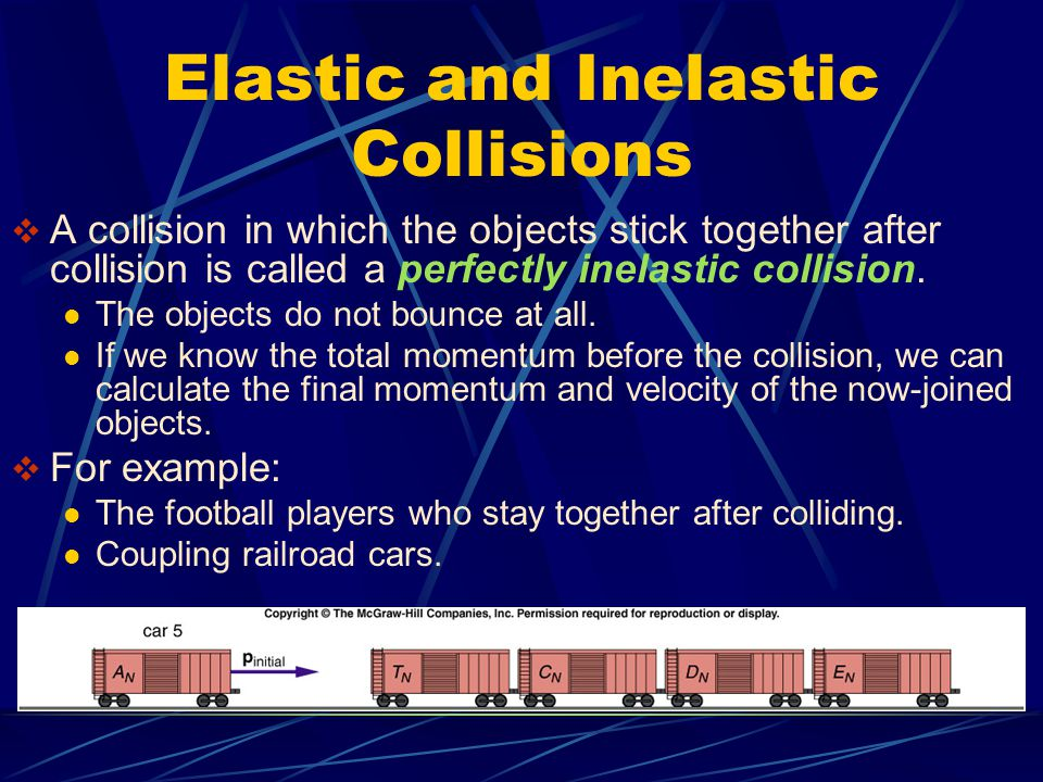 Elastic and Inelastic Collisions  A collision in which the objects stick together after collision is called a perfectly inelastic collision. The obje