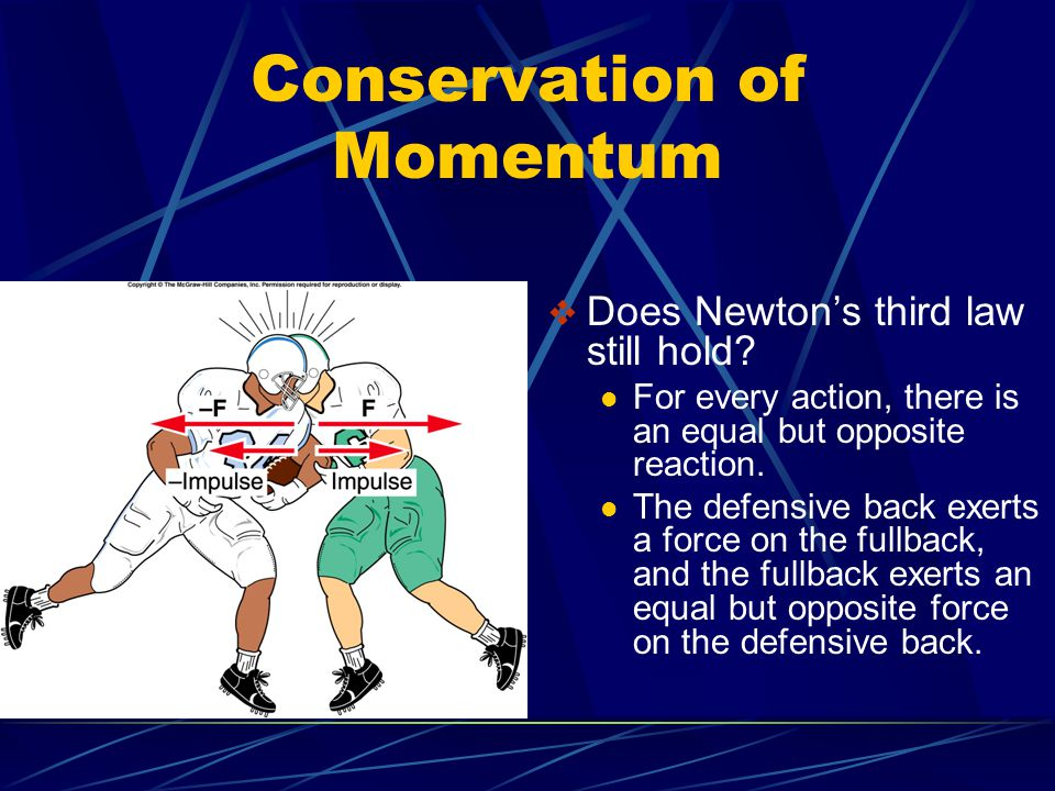 Conservation of Momentum  Does Newton's third law still hold? For every action, there is an equal but opposite reaction. The defensive back exerts a