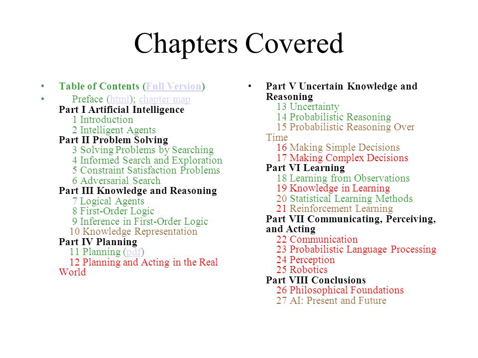 Chapters Covered Table of Contents (Full Version)Full Version Preface (html); chapter map Part I Artificial Intelligence 1 Introduction 2 Intelligent Agents Part II Problem Solving 3 Solving Problems by Searching 4 Informed Search and Exploration 5 Constraint Satisfaction Problems 6 Adversarial Search Part III Knowledge and Reasoning 7 Logical Agents 8 First-Order Logic 9 Inference in First-Order Logic 10 Knowledge Representation Part IV Planning 11 Planning (pdf) 12 Planning and Acting in the Real Worldhtmlchapter mappdf Part V Uncertain Knowledge and Reasoning 13 Uncertainty 14 Probabilistic Reasoning 15 Probabilistic Reasoning Over Time 16 Making Simple Decisions 17 Making Complex Decisions Part VI Learning 18 Learning from Observations 19 Knowledge in Learning 20 Statistical Learning Methods 21 Reinforcement Learning Part VII Communicating, Perceiving, and Acting 22 Communication 23 Probabilistic Language Processing 24 Perception 25 Robotics Part VIII Conclusions 26 Philosophical Foundations 27 AI: Present and Future