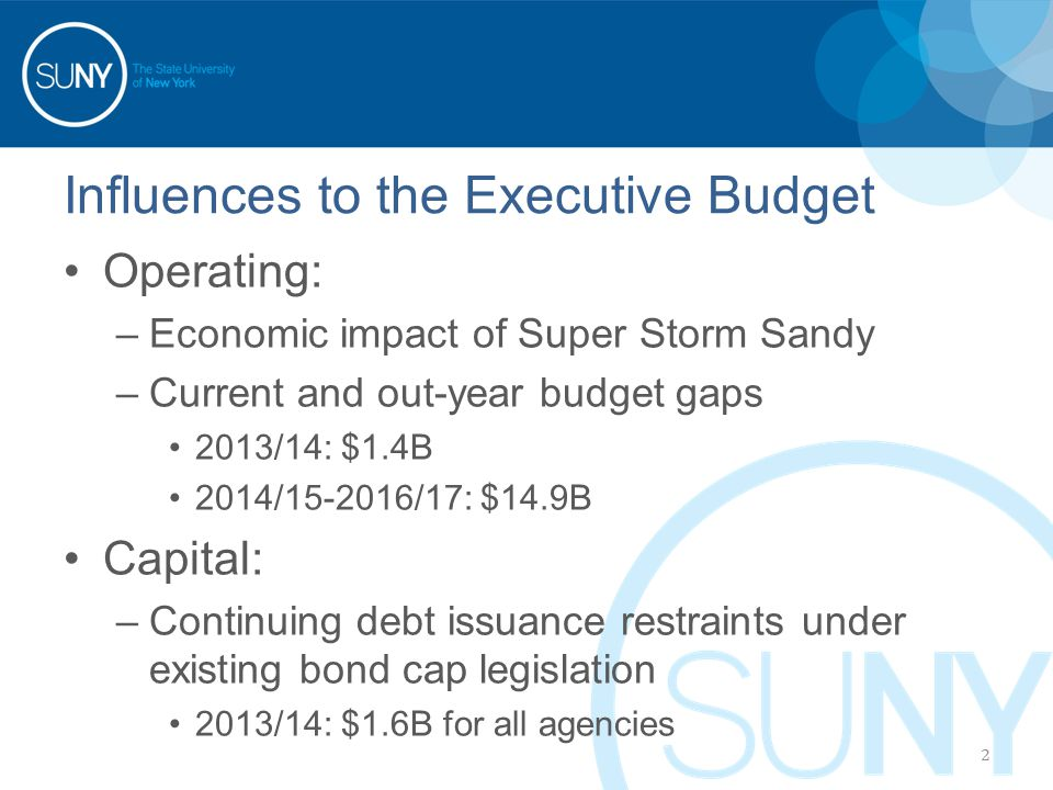 Influences to the Executive Budget Operating: –Economic impact of Super Storm Sandy –Current and out-year budget gaps 2013/14: $1.4B 2014/15-2016/17: $14.9B Capital: –Continuing debt issuance restraints under existing bond cap legislation 2013/14: $1.6B for all agencies 2