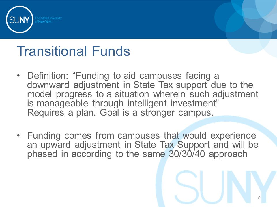 Transitional Funds Definition: Funding to aid campuses facing a downward adjustment in State Tax support due to the model progress to a situation wherein such adjustment is manageable through intelligent investment Requires a plan.