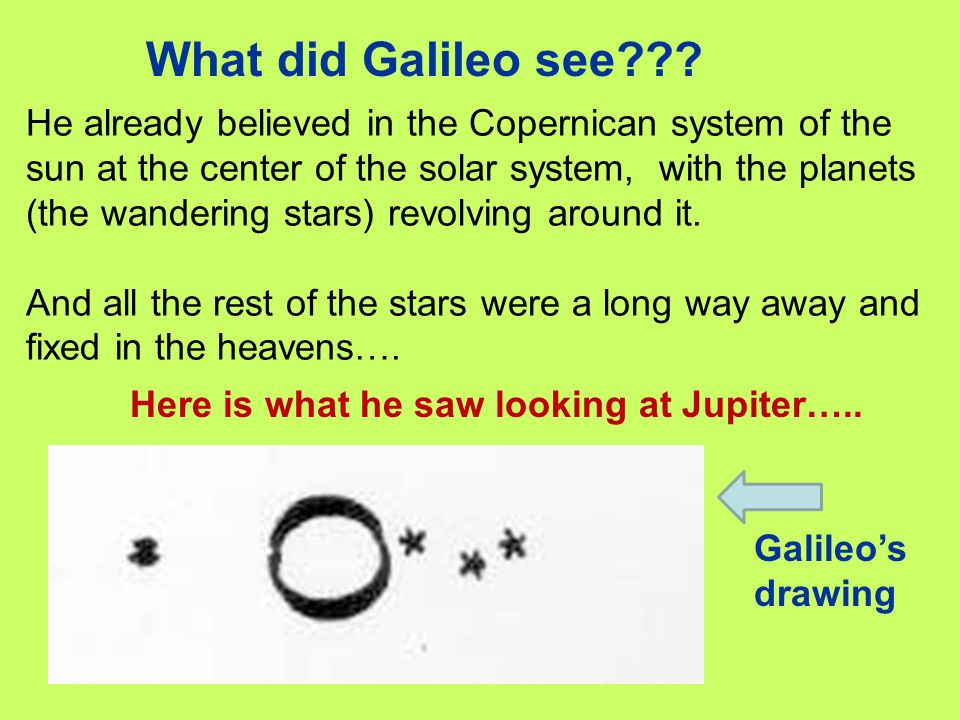 What did Galileo see??? He already believed in the Copernican system of the sun at the center of the solar system, with the planets (the wandering sta
