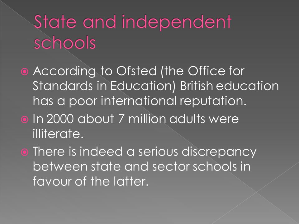  According to Ofsted (the Office for Standards in Education) British education has a poor international reputation.  In 2000 about 7 million adults
