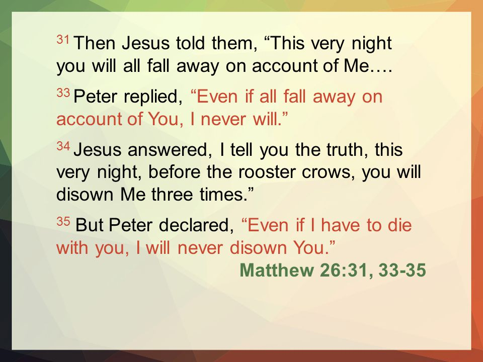 31 Then Jesus told them, This very night you will all fall away on account of Me….