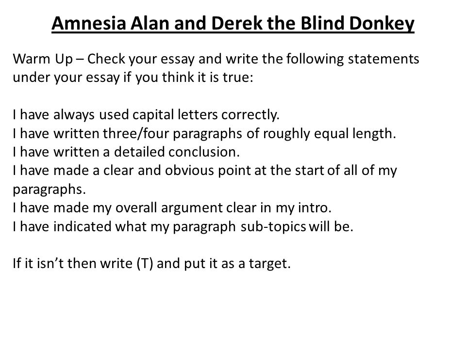 Amnesia Alan and Derek the Blind Donkey Warm Up – Check your essay and write the following statements under your essay if you think it is true: I have