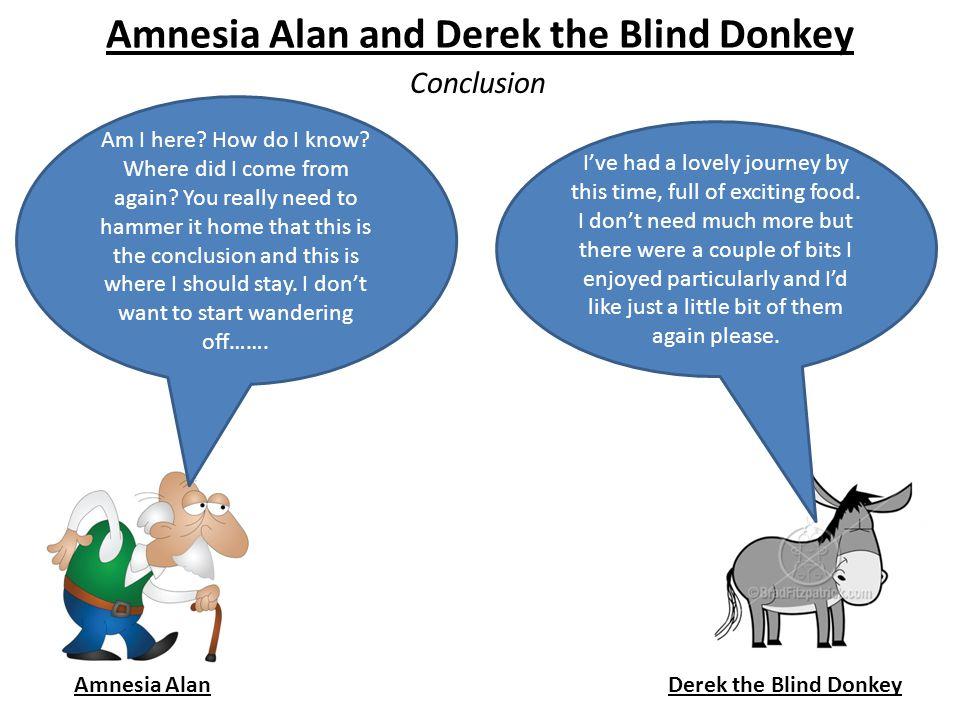 Amnesia Alan and Derek the Blind Donkey Conclusion Amnesia AlanDerek the Blind Donkey Am I here.