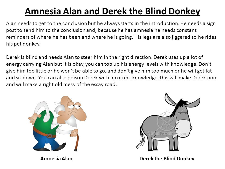 Amnesia Alan and Derek the Blind Donkey Amnesia AlanDerek the Blind Donkey Alan needs to get to the conclusion but he always starts in the introduction.