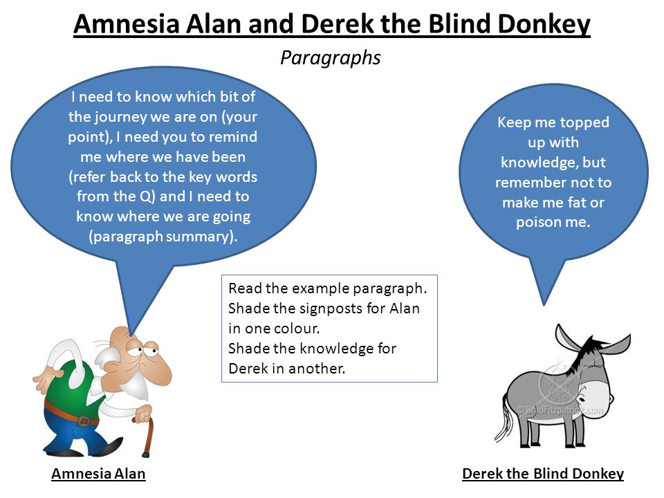 Amnesia Alan and Derek the Blind Donkey Paragraphs Amnesia AlanDerek the Blind Donkey I need to know which bit of the journey we are on (your point), I need you to remind me where we have been (refer back to the key words from the Q) and I need to know where we are going (paragraph summary).