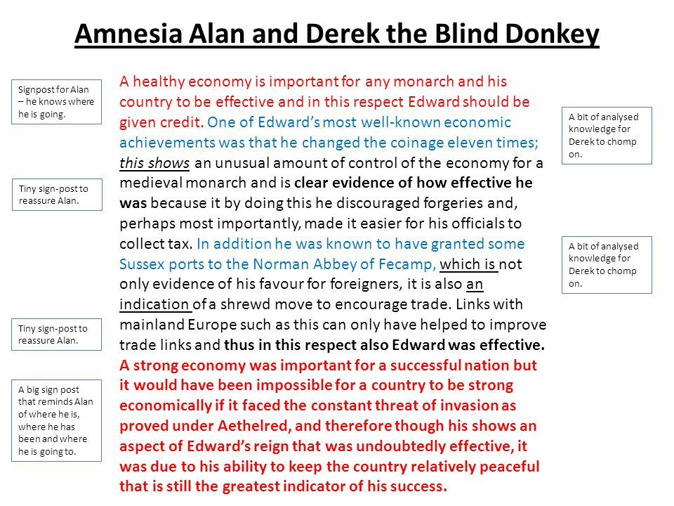 Amnesia Alan and Derek the Blind Donkey A healthy economy is important for any monarch and his country to be effective and in this respect Edward shou