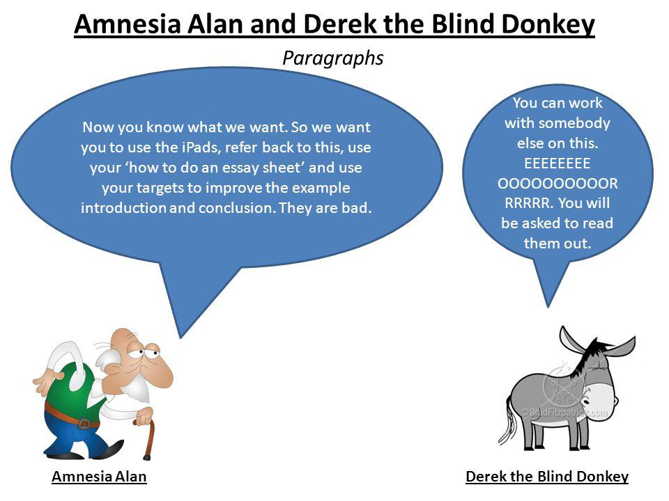 Amnesia Alan and Derek the Blind Donkey Paragraphs Amnesia AlanDerek the Blind Donkey Now you know what we want.
