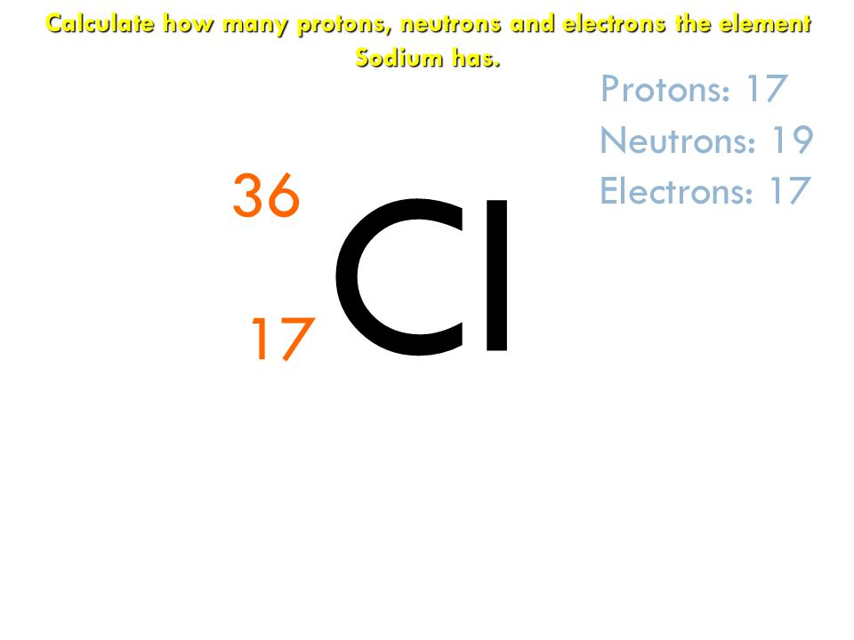 Cl 36 17 Protons: 17 Neutrons: 19 Electrons: 17 Calculate how many protons, neutrons and electrons the element Sodium has.
