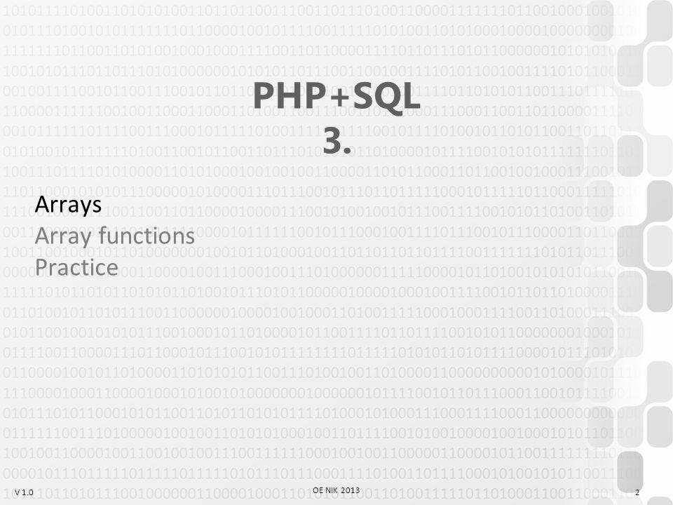 V 1.0 Example: form.html Name: Age: GET vs POST 23 OE NIK 2013