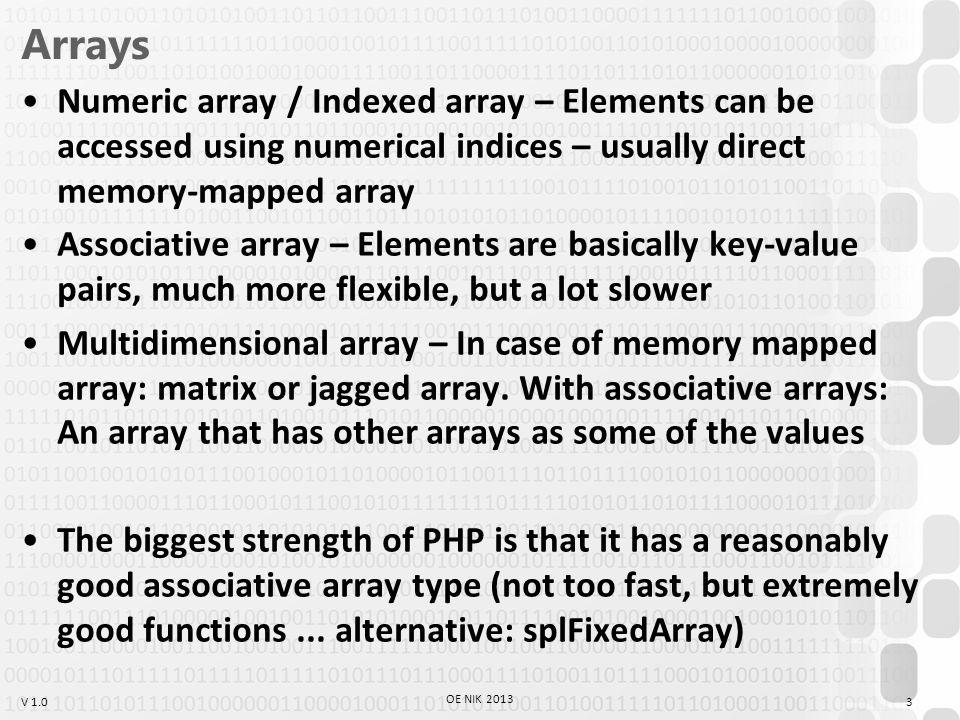V 1.0 array_merge $a = array (1, 2, 3); $b = array ( a => 1, 2, 3); var_dump (array_merge($a, $b)); array(6) { [0]=> int(1) [1]=> int(2) [2]=> int(3) [ a ]=> int(1) [3]=> int(2) [4]=> int(3) } 14 OE NIK 2013