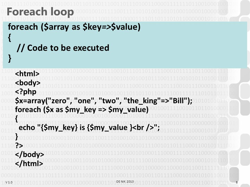V 1.0 Foreach loop Bill ); foreach ($x as $my_key => $my_value) { echo {$my_key} is {$my_value } ; } > 8 OE NIK 2013 foreach ($array as $key=>$value) { // Code to be executed }
