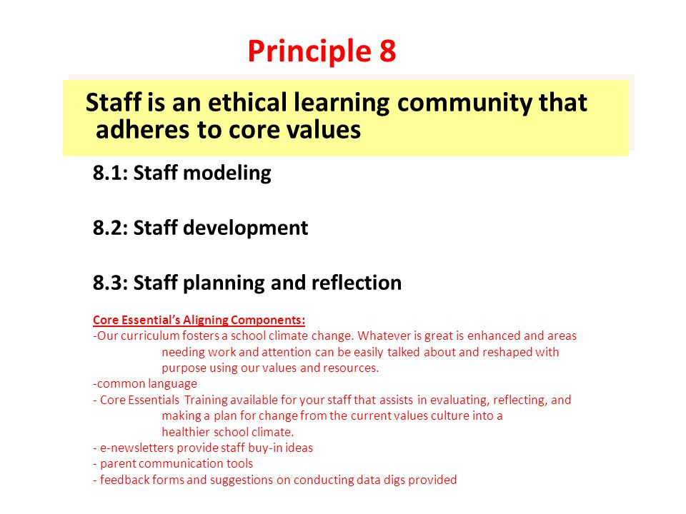 Staff is an ethical learning community that adheres to core values 8.1: Staff modeling 8.2: Staff development 8.3: Staff planning and reflection Core Essential's Aligning Components: -Our curriculum fosters a school climate change.
