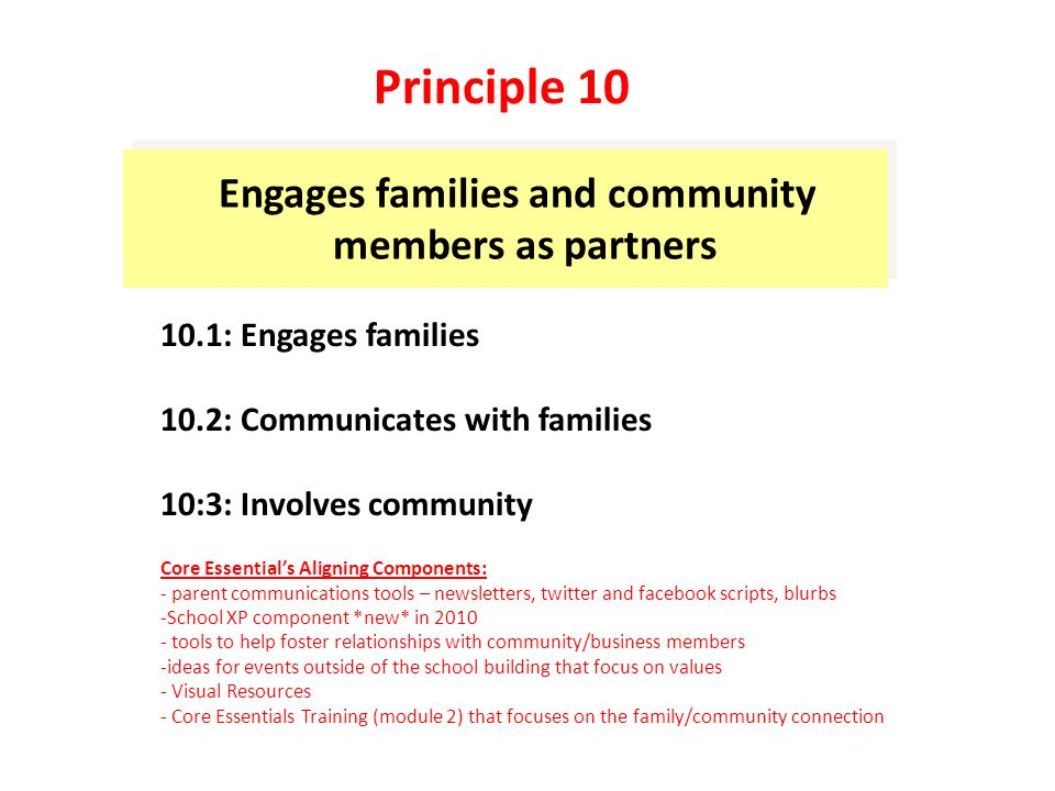 Engages families and community members as partners 10.1: Engages families 10.2: Communicates with families 10:3: Involves community Core Essential's Aligning Components: - parent communications tools – newsletters, twitter and facebook scripts, blurbs -School XP component *new* in 2010 - tools to help foster relationships with community/business members -ideas for events outside of the school building that focus on values - Visual Resources - Core Essentials Training (module 2) that focuses on the family/community connection Principle 10