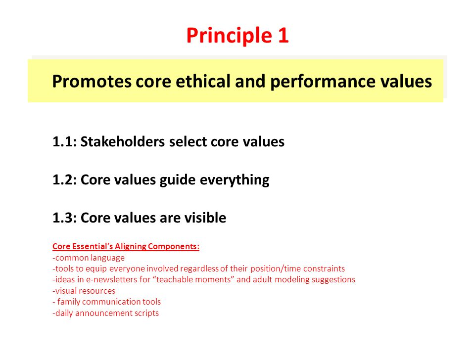 Promotes core ethical and performance values 1.1: Stakeholders select core values 1.2: Core values guide everything 1.3: Core values are visible Core Essential's Aligning Components: -common language -tools to equip everyone involved regardless of their position/time constraints -ideas in e-newsletters for teachable moments and adult modeling suggestions -visual resources - family communication tools -daily announcement scripts Principle 1