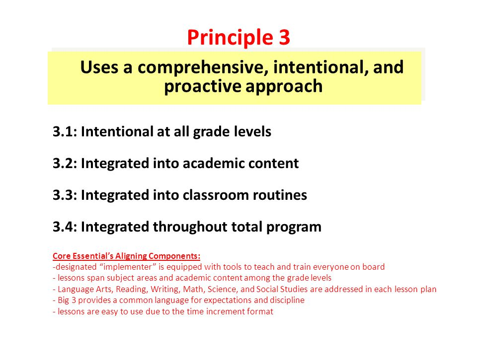 Uses a comprehensive, intentional, and proactive approach 3.1: Intentional at all grade levels 3.2: Integrated into academic content 3.3: Integrated into classroom routines 3.4: Integrated throughout total program Core Essential's Aligning Components: -designated implementer is equipped with tools to teach and train everyone on board - lessons span subject areas and academic content among the grade levels - Language Arts, Reading, Writing, Math, Science, and Social Studies are addressed in each lesson plan - Big 3 provides a common language for expectations and discipline - lessons are easy to use due to the time increment format Principle 3