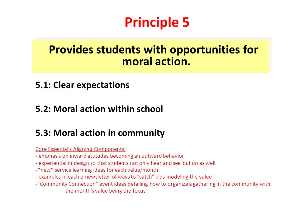 Offers a meaningful and challenging academic curriculum that respects all learners 6.1: Challenging curriculum 6.2: Meeting student needs 6.3: Performance character Core Essential's Aligning Components: -Our curriculum provides the common language and relationship building tools essential to cultivating a safe and caring school climate in which academics can best be approached -Our curriculum is respectful of all cultures, religions, and belief systems.