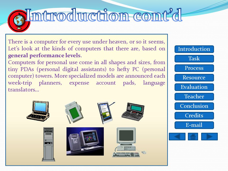 Task Resource Process Evaluation Teacher Conclusion Credits Introduction E-mail Computers are showing up everywhere you look, and even in places you c