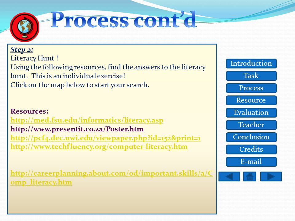 Task Resource Process Evaluation Teacher Conclusion Credits Introduction E-mail Step 1: 1.First, look at the example computer literacy poster 2. Now,