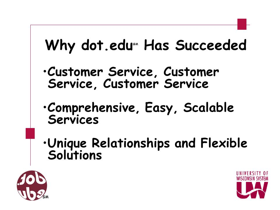 Customer Service, Customer Service, Customer Service Comprehensive, Easy, Scalable Services Unique Relationships and Flexible Solutions SM Why dot.edu SM Has Succeeded