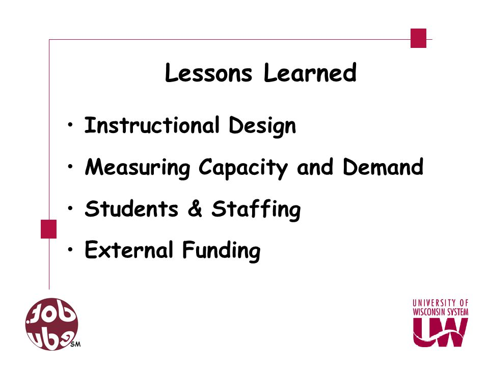 Lessons Learned Instructional Design Measuring Capacity and Demand Students & Staffing External Funding SM
