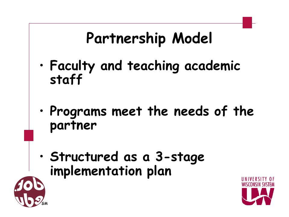 Partnership Model Model transfers responsibility from dot.edu SM to the partners A written implementation plan is designed jointly with flexibility to meet changing needs SM
