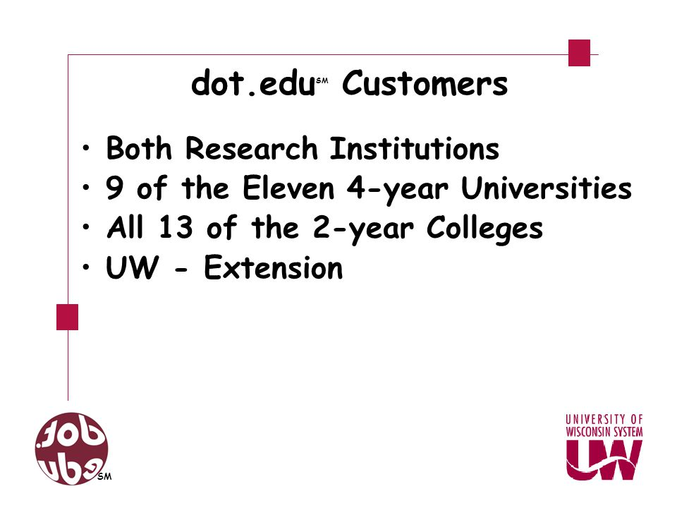 dot.edu SM Customers Both Research Institutions 9 of the Eleven 4-year Universities All 13 of the 2-year Colleges UW - Extension SM