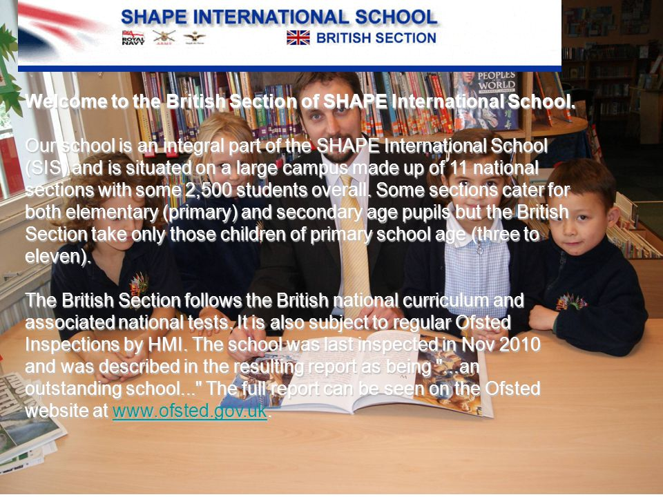 Welcome to the British Section of SHAPE International School.