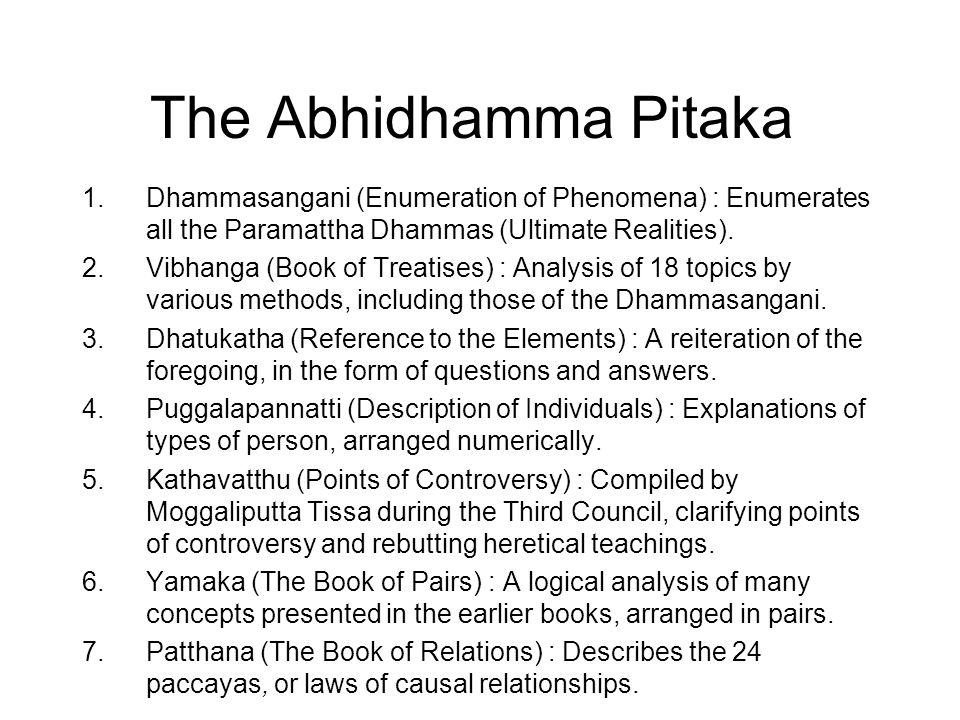 The Abhidhamma Pitaka 1.Dhammasangani (Enumeration of Phenomena) : Enumerates all the Paramattha Dhammas (Ultimate Realities).
