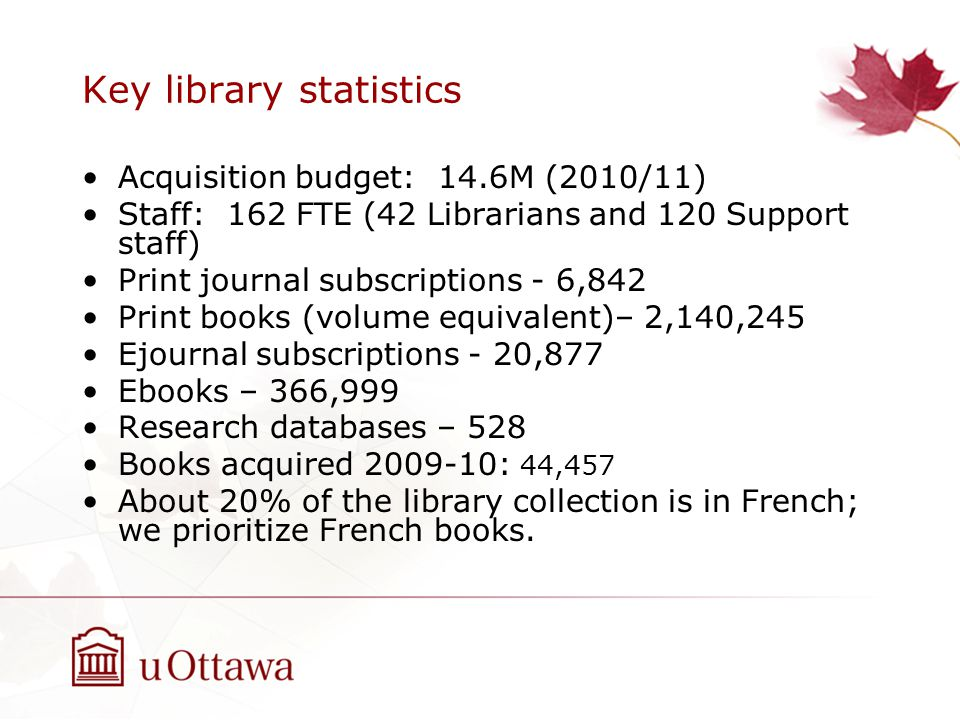Key library statistics Acquisition budget: 14.6M (2010/11) Staff: 162 FTE (42 Librarians and 120 Support staff) Print journal subscriptions - 6,842 Pr