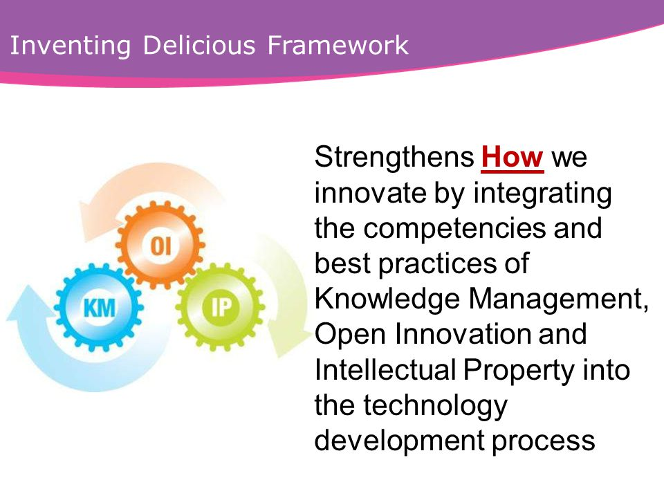 Inventing Delicious Framework Strengthens How we innovate by integrating the competencies and best practices of Knowledge Management, Open Innovation and Intellectual Property into the technology development process