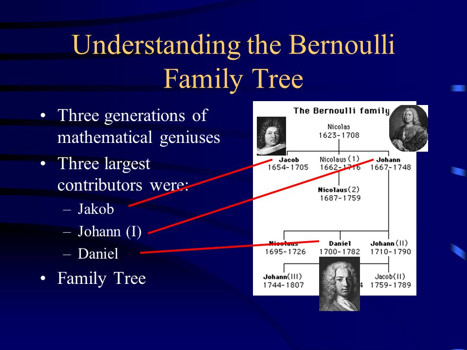 Understanding the Bernoulli Family Tree Three generations of mathematical geniuses Three largest contributors were: –Jakob –Johann (I) –Daniel Family Tree
