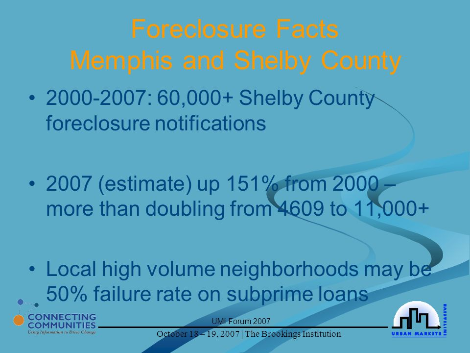 October 18 – 19, 2007 | The Brookings Institution UMI Forum 2007 Foreclosure Facts Memphis and Shelby County 2000-2007: 60,000+ Shelby County foreclosure notifications 2007 (estimate) up 151% from 2000 – more than doubling from 4609 to 11,000+ Local high volume neighborhoods may be 50% failure rate on subprime loans