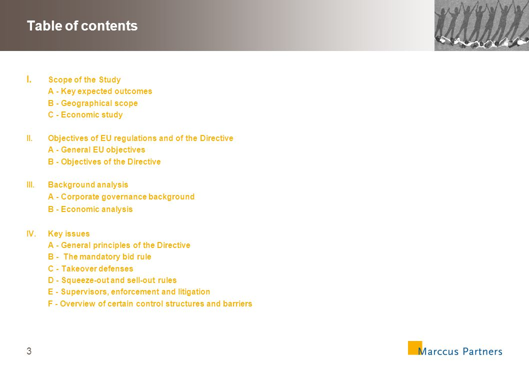 3 Table of contents I.