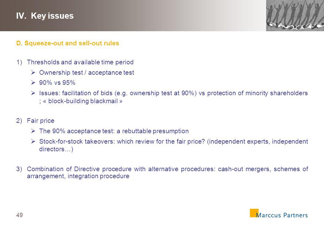 50 IV.Key issues E.