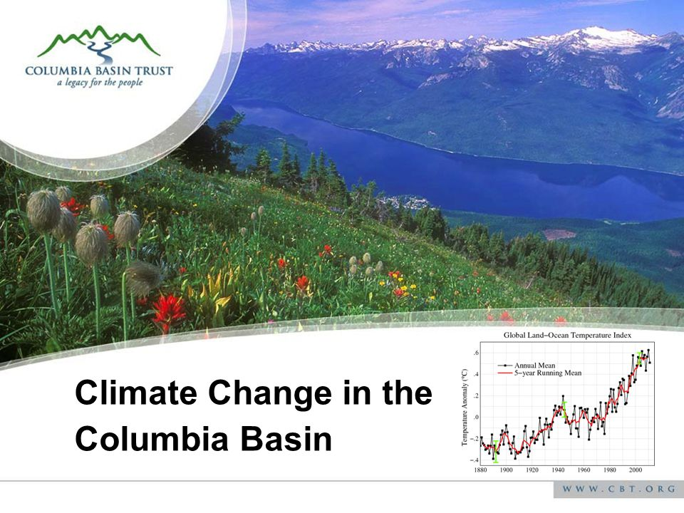 Climate Profile for Castlegar Climate element Projected future change in the Central Kootenay By 2050s Average temperature ANNUAL +1.9 o C (+1.1 to +2.8) Average precipitation ANNUAL +5% (-3% to +11%) Average temperature SUMMER 2.4 o C (+1.6 to +3.2) Average precipitation SUMMER -8% (-20% to -2%) Other Variables Annual Growing Degree Days +326 (+177 to 471) Annual Heating Degree Days -679 (-1001 to -407) Annual Frost-Free Days +26 (+16 to +37)