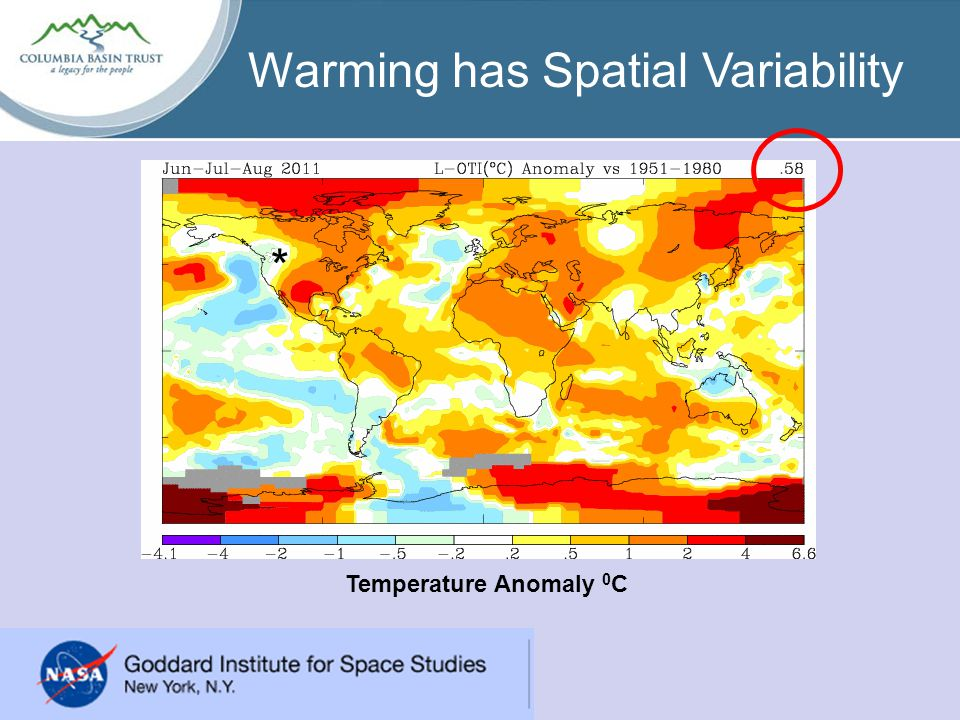 Warming has Spatial Variability *** Temperature Anomaly 0 C