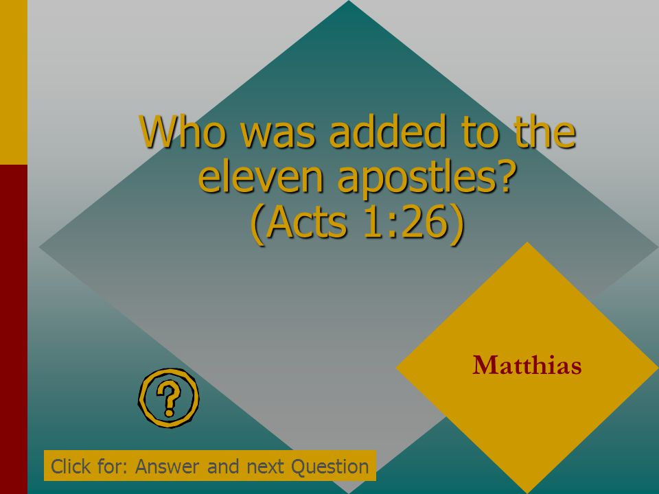 Who stood up to speak? (Acts 1:20) Peter Click for: Answer and next Question