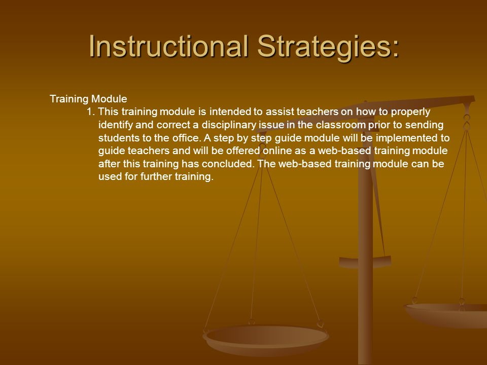 Instructional Strategies: Training Module 1.