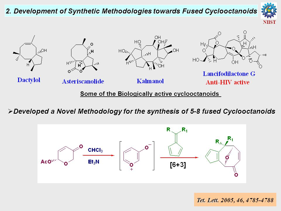 Utilization of the Developed Synthetic Methodology NIIST Tet.