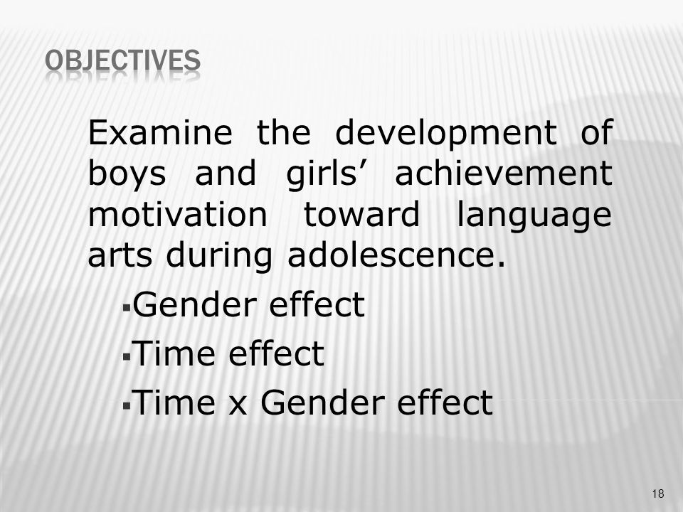 Examine the development of boys and girls' achievement motivation toward language arts during adolescence.