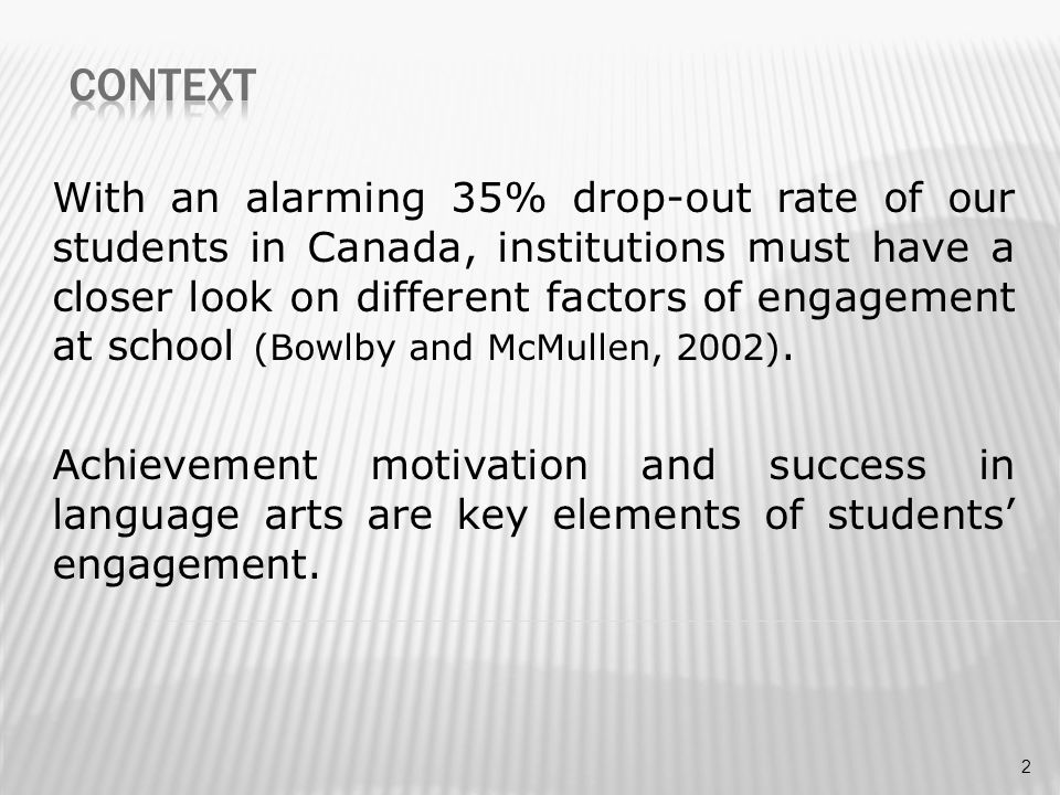 With an alarming 35% drop-out rate of our students in Canada, institutions must have a closer look on different factors of engagement at school (Bowlb