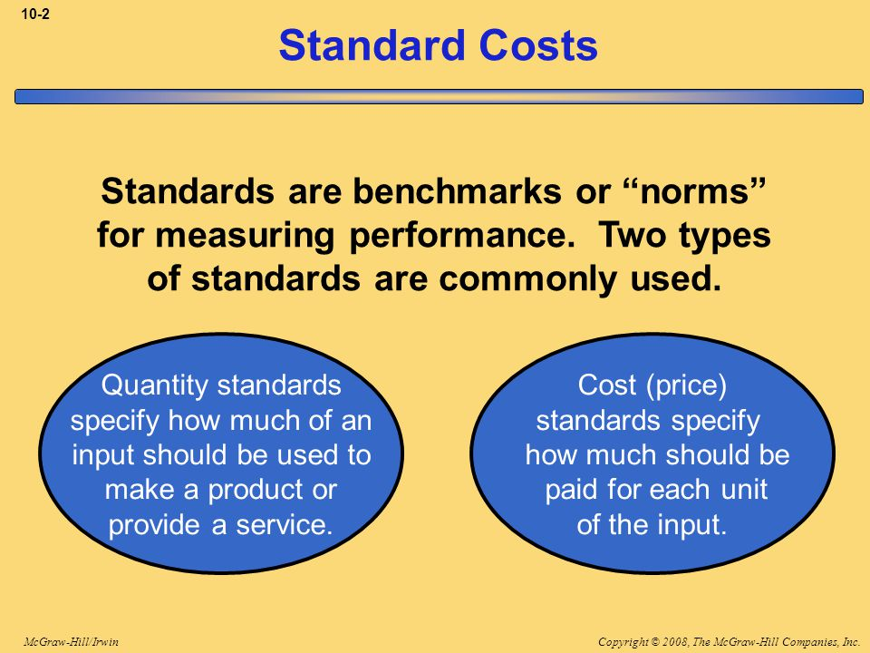 "Copyright © 2008, The McGraw-Hill Companies, Inc.McGraw-Hill/Irwin 10-2 Standard Costs Standards are benchmarks or ""norms"" for measuring performance."