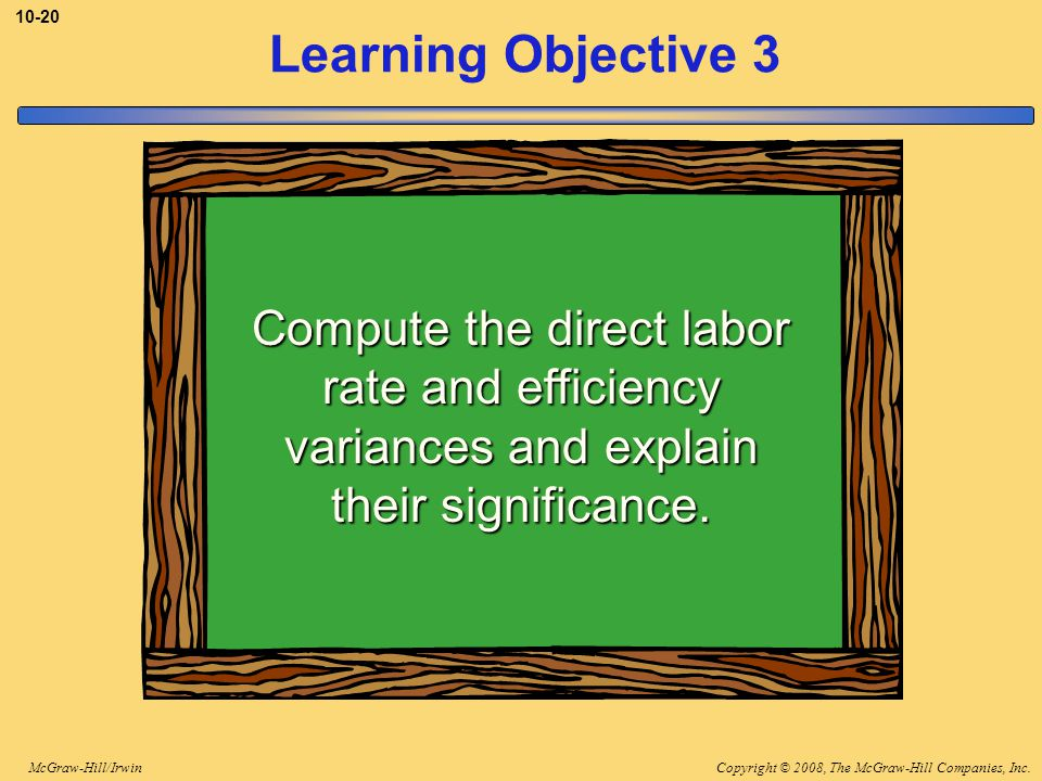 Copyright © 2008, The McGraw-Hill Companies, Inc.McGraw-Hill/Irwin Learning Objective 3 Compute the direct labor rate and efficiency variances and explain their significance.