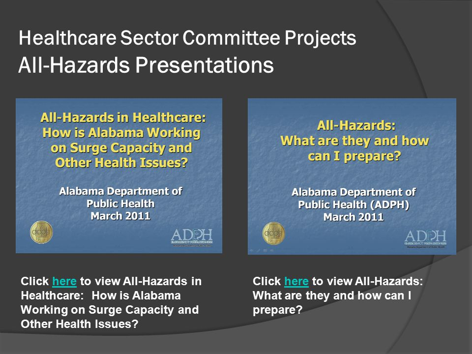Healthcare Sector Committee Projects All-Hazards Presentations Click here to view All-Hazards in Healthcare: How is Alabama Working on Surge Capacity and Other Health Issues here Click here to view All-Hazards: What are they and how can I prepare here