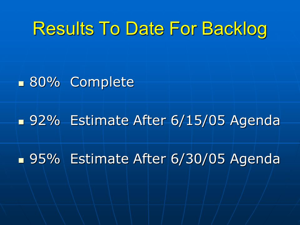 Results To Date For Backlog 80% Complete 80% Complete 92% Estimate After 6/15/05 Agenda 92% Estimate After 6/15/05 Agenda 95% Estimate After 6/30/05 A