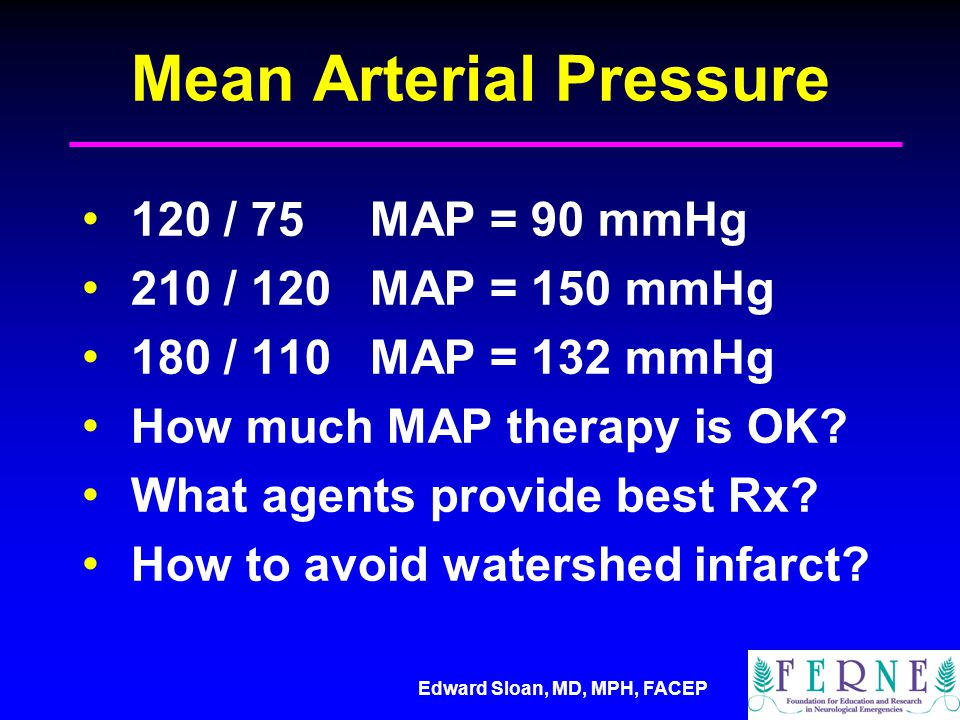 Edward Sloan, MD, MPH, FACEP Mean Arterial Pressure 120 / 75MAP = 90 mmHg 210 / 120MAP = 150 mmHg 180 / 110MAP = 132 mmHg How much MAP therapy is OK.
